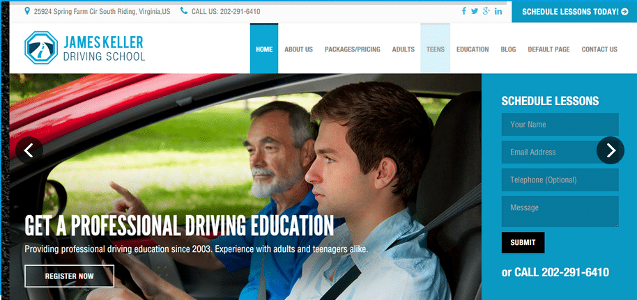Website templates for driving schools
